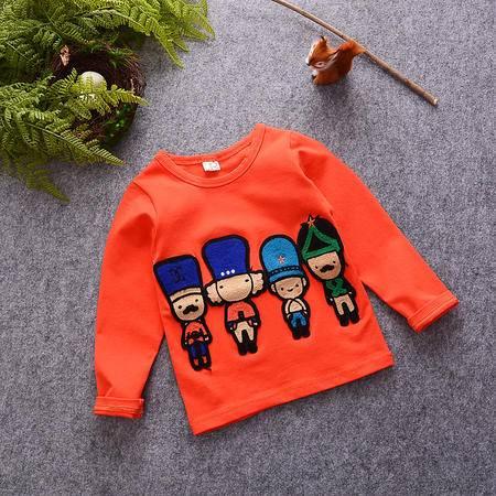 M童装 16年秋季男童长袖T恤 韩版宝宝四个小人套头卫衣潮