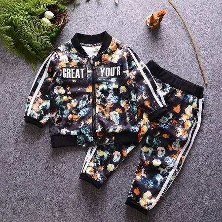 M童装 16年秋季男童套装 韩版宝宝花朵夹克长裤空气棉套装