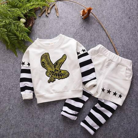 M童装 16年秋季男童套装 韩版宝宝老鹰卫衣假两件裤子套装