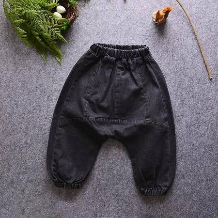 M牛仔大PP裤16韩版秋款男女童黑色垮裤哈伦裤宝宝收脚长裤子潮