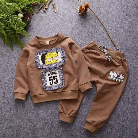 M童装 16年秋季男童套装 韩版宝宝竹节棉小黄脸卫衣两件套