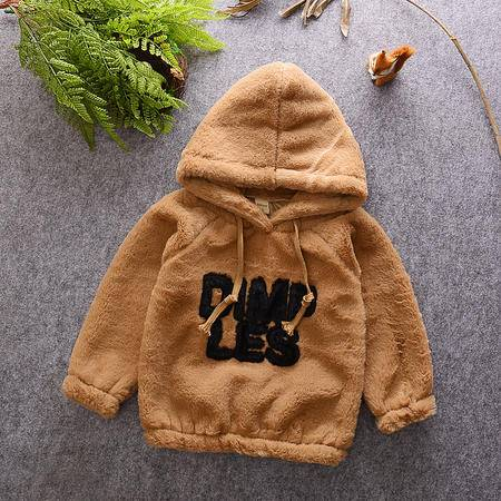 M秋冬季韩版新款男女儿童装宝宝毛毛绒字母加绒卫衣中小童上衣