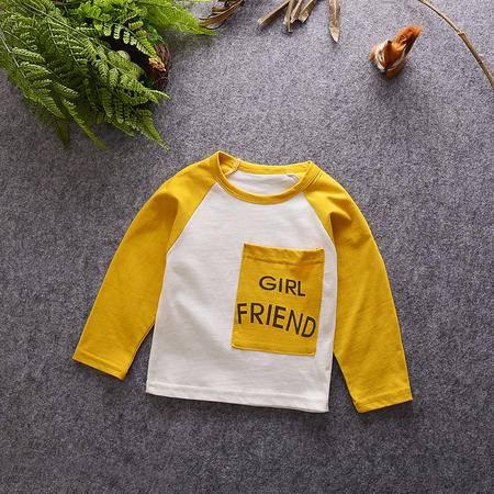 M童装 16年秋季儿童长袖T恤韩版宝宝男女童贴布插袋打底衫