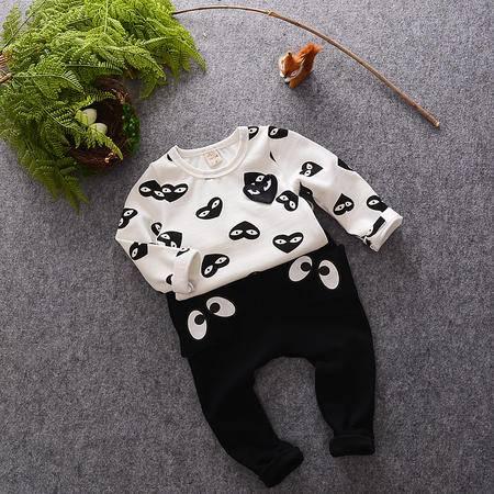 M童装 16年秋季男童套装 韩版宝宝满印爱心眼睛两件套 潮