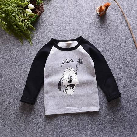 M童装 16年秋季男童长袖T恤 韩版宝宝卡通可爱狗狗打底衫