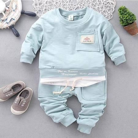 M童装 16年秋季儿童套装 韩版宝宝男女童贴标双袋卫衣套装
