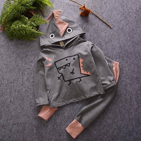 M童装 16年秋季男童套装 韩版宝宝卡通恐龙卫衣长裤两件套