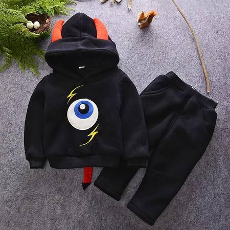 M儿童套装2016冬款男宝宝加绒加厚两件套韩版小恶魔中小童套装
