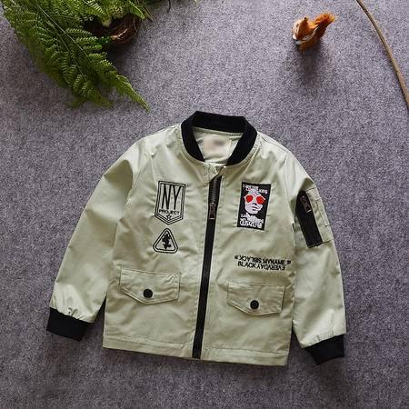 M童装 16年秋季男童外套 韩版宝宝全棉人头夹克衫