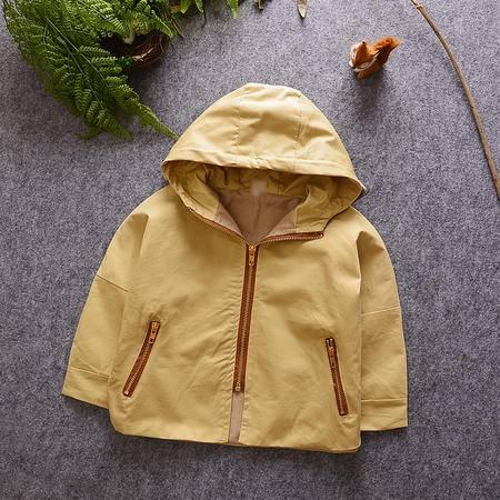 M童装 16年秋季男童外套 韩版宝宝后背印花可爱小狮子风衣