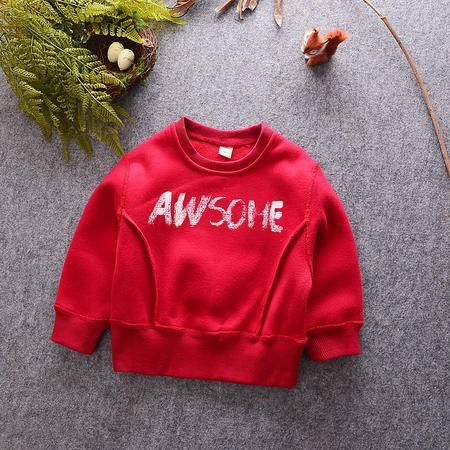 M秋季韩版新款男女儿童装宝宝红色短装拼接卫衣上衣时尚打底衫