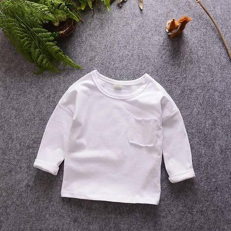 M2016男女童打底衫春秋新款百搭长袖T恤儿童纯色上衣 童装