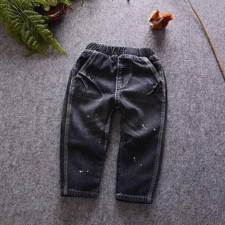 M牛仔裤16秋男女童装日系喷漆洗水柔软牛仔休闲裤宝宝长裤子潮