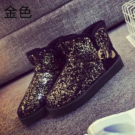 娅莱娅2016年秋季新款韩版雪地靴平底防滑亮片棉靴保暖女鞋