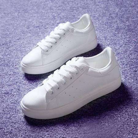 娅莱娅 夏季新款韩版运动小白鞋PU低帮平底透气休闲鞋女