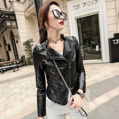 FAPU街头皮衣长袖女夹克秋季外套皮夹克新款韩版修身机车常规