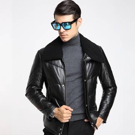 K2016新款真皮皮衣男羽绒服可立可翻毛领绵羊皮男式皮草保暖外套