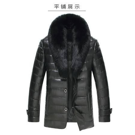 K新款羊羔皮毛一体男士毛领时尚真皮皮衣绵羊皮皮夹克皮草外套