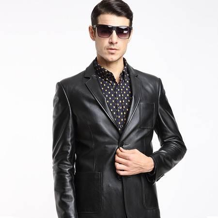 K2016男士真皮西装秋冬新款韩版修身真皮皮衣男式绵羊皮西服外套