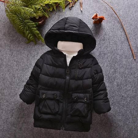 M童装 16年冬季男童棉衣 韩版宝宝手塞棉大帽子侧拉链棉袄