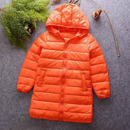 M童装16年冬季儿童羽绒服韩版男女童纯色连帽加长款羽绒服