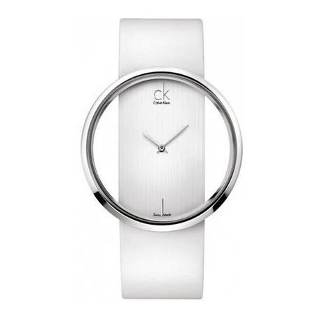CK卡文克莱(CalvinKlein)手表女表超薄白盘白色皮带镂空时尚石英表K9423101