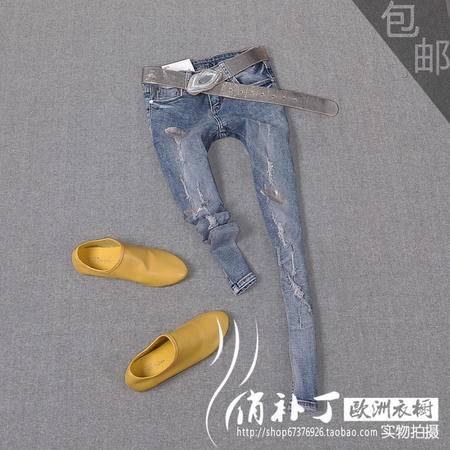 2015春秋修身破洞九分牛仔裤女小脚裤烫金显瘦浅色牛仔裤女铅笔裤