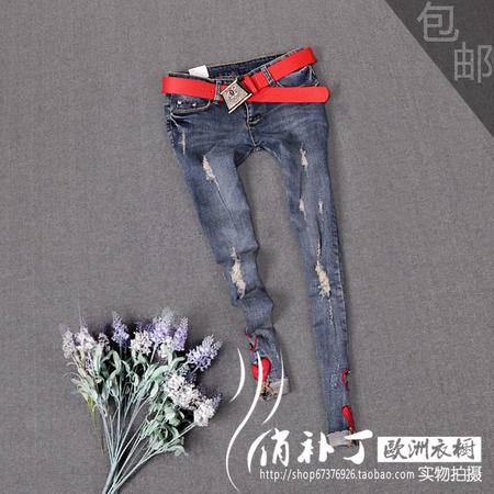 秋冬bf膝盖破洞牛仔裤女薄铅笔裤修身显瘦浅色九分牛仔裤女小脚裤
