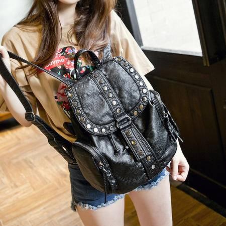 女王箱包 2015新款韩版夏季 软水洗皮时尚双肩包 休闲背包书包旅行包包袋