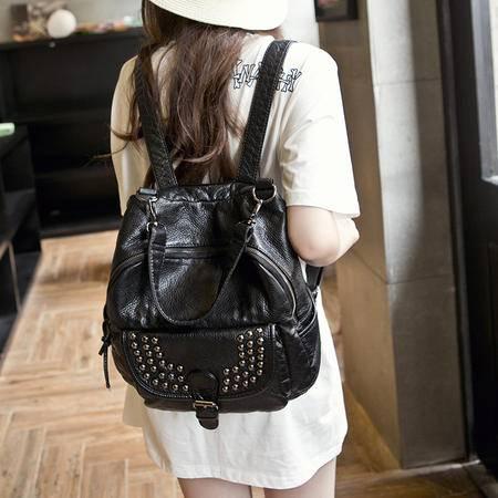 女王箱包 2015夏季新款 潮铆钉双肩包女包 韩版旅行软皮背包 旅游大包包袋