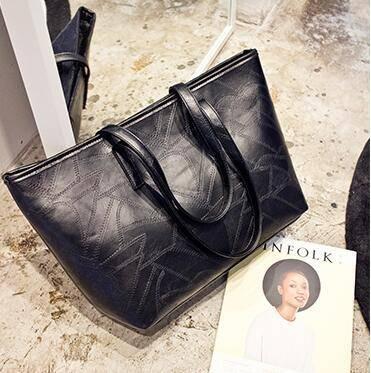 女王箱包 2015新款单肩包大包欧美女式包潮流手提包黑色休闲购物袋