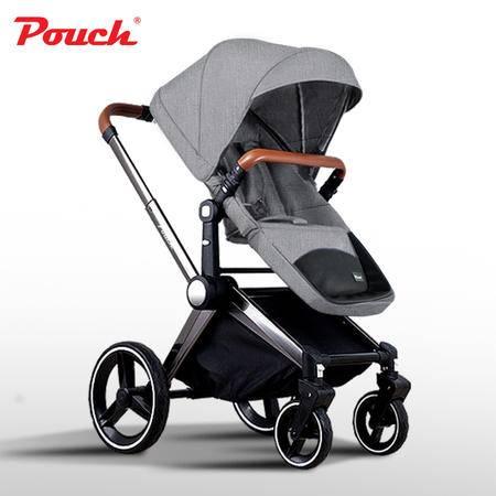 Pouch轻奢大轮婴儿推车高景观可坐躺折叠宝宝手推车儿童bb车冬夏P88