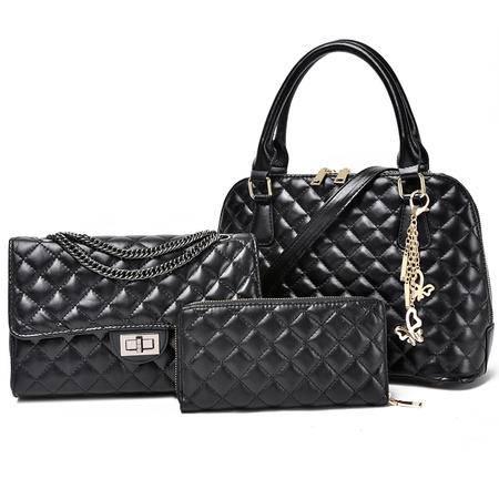 包包2015秋季新款小香风菱格包子母包三件套女包贝壳包手提包套包