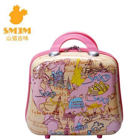 化妆包 手提包 旅行箱搭配包 14寸橘色手绘世界风