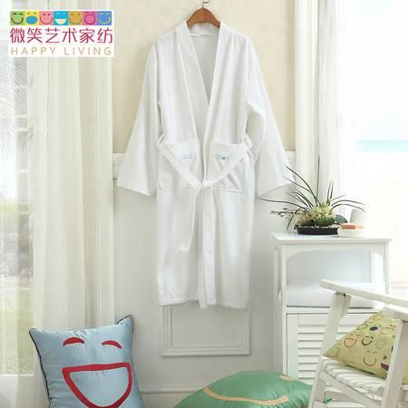 微笑艺术家纺 时尚经典全棉毛巾布浴袍 经典设计 纯净色彩