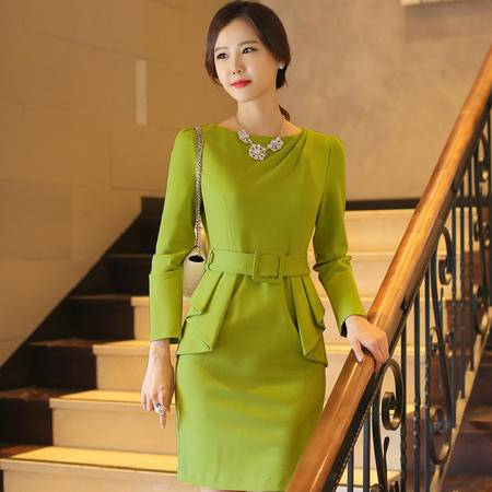 薇语馨 新品韩国职业修身荷叶边包臀长袖打底裙连衣裙 7731