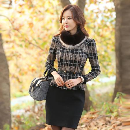 薇语馨 新品修身职业OL精品时尚长袖假俩件连衣裙 7680