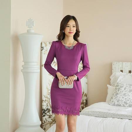 薇语馨  新款修身时尚职业女装蕾丝花边长袖连衣裙 7686