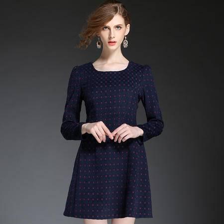 蒂妮佳  欧洲时尚新款毛呢长袖波点连衣裙 D7699