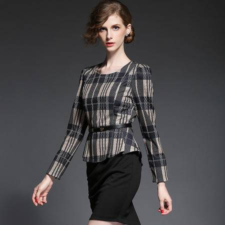 蒂妮佳  欧美新品修身OL精品时尚长袖假俩件连衣裙 D7680