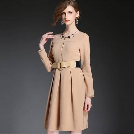 蒂妮佳 欧美时尚新款纯色A字通勤连衣裙 D7674