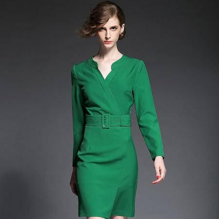 蒂妮佳 新款通勤纯色拼接连衣裙 D7747