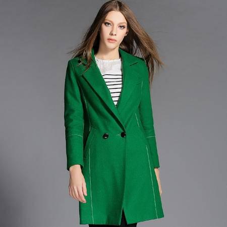 蒂妮佳  欧美新款双面羊绒大衣修身中长款呢子大衣女式外套 D7748