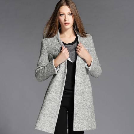 蒂妮佳  欧美式时尚修身羊毛呢子中长款外套女士风衣大衣 D7753