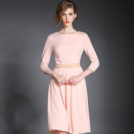 薇语馨 欧美新品女装针织打底中长款裙七分袖连衣裙 7744