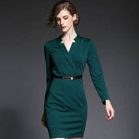 蒂妮佳  修身中长款V领长袖连衣裙一步裙 D7609