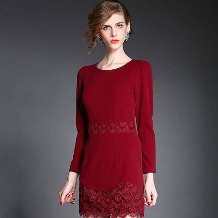 蒂妮佳  欧美新品女装长袖暗红色礼服欧根纱刺绣连衣裙 D7401
