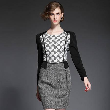 蒂妮佳 欧美新款棉麻拼接高端长袖裙子女士连衣裙 D7684
