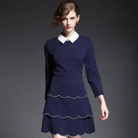 蒂妮佳  欧美新品时尚拼接七分袖蛋糕连衣裙 D7727