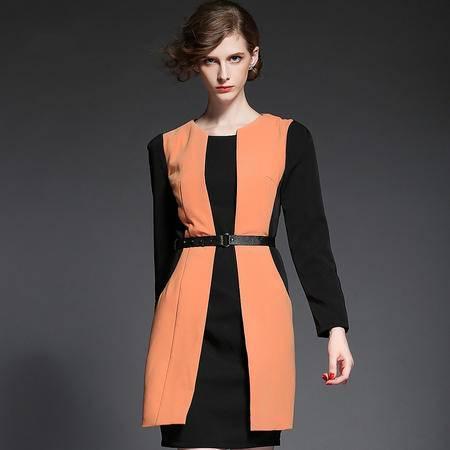 蒂妮佳  欧美职业OL女装假拼接撞色中裙一步裙连衣裙 D7091